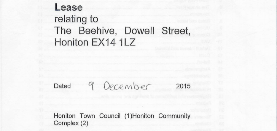 Dispute with Honiton Town Council